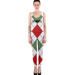 Red Green White Argyle Navy Onepiece Catsuit