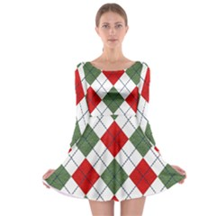 Red Green White Argyle Navy Long Sleeve Skater Dress