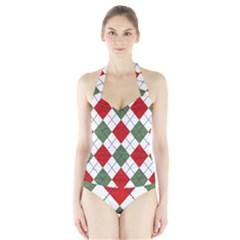 Red Green White Argyle Navy Halter Swimsuit