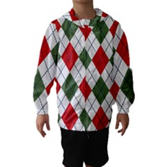 Red Green White Argyle Navy Hooded Wind Breaker (Kids)