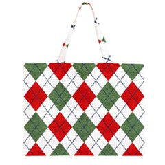 Red Green White Argyle Navy Large Tote Bag