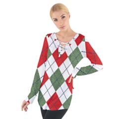 Red Green White Argyle Navy Women s Tie Up Tee