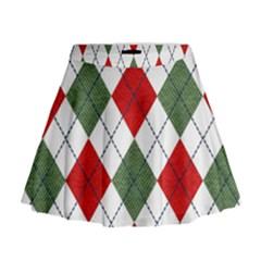 Red Green White Argyle Navy Mini Flare Skirt