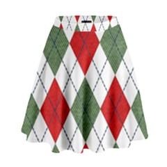 Red Green White Argyle Navy High Waist Skirt