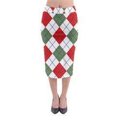 Red Green White Argyle Navy Midi Pencil Skirt
