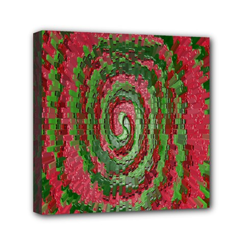Red Green Swirl Twirl Colorful Mini Canvas 6  x 6
