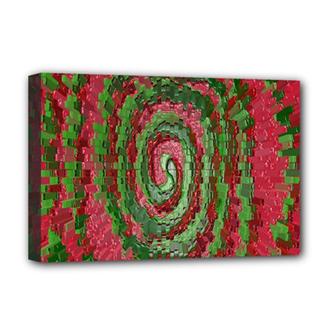 Red Green Swirl Twirl Colorful Deluxe Canvas 18  x 12