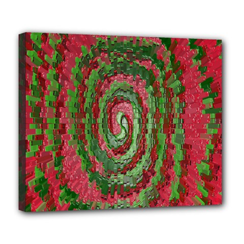 Red Green Swirl Twirl Colorful Deluxe Canvas 24  X 20