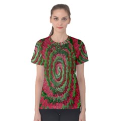 Red Green Swirl Twirl Colorful Women s Cotton Tee