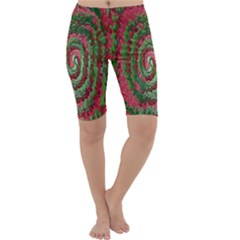 Red Green Swirl Twirl Colorful Cropped Leggings