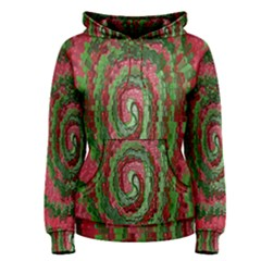 Red Green Swirl Twirl Colorful Women s Pullover Hoodie