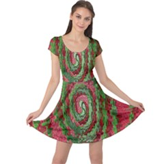 Red Green Swirl Twirl Colorful Cap Sleeve Dresses