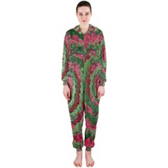 Red Green Swirl Twirl Colorful Hooded Jumpsuit (Ladies)