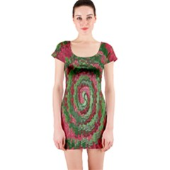 Red Green Swirl Twirl Colorful Short Sleeve Bodycon Dress