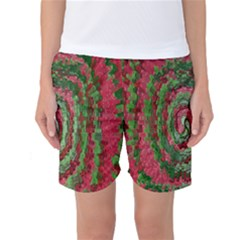 Red Green Swirl Twirl Colorful Women s Basketball Shorts