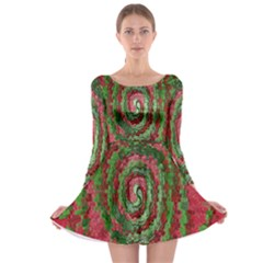 Red Green Swirl Twirl Colorful Long Sleeve Skater Dress