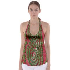 Red Green Swirl Twirl Colorful Babydoll Tankini Top