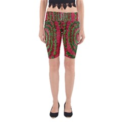 Red Green Swirl Twirl Colorful Yoga Cropped Leggings