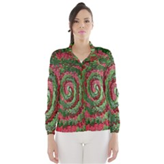 Red Green Swirl Twirl Colorful Wind Breaker (women)