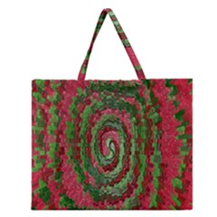 Red Green Swirl Twirl Colorful Zipper Large Tote Bag