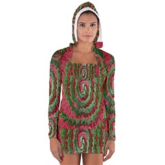 Red Green Swirl Twirl Colorful Women s Long Sleeve Hooded T-shirt