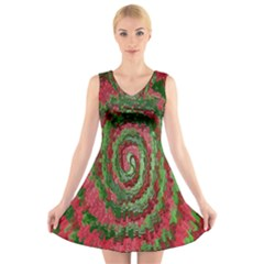 Red Green Swirl Twirl Colorful V Neck Sleeveless Skater Dress