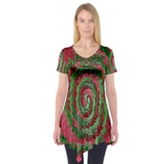 Red Green Swirl Twirl Colorful Short Sleeve Tunic