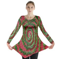 Red Green Swirl Twirl Colorful Long Sleeve Tunic