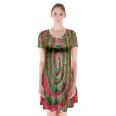 Red Green Swirl Twirl Colorful Short Sleeve V-neck Flare Dress