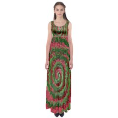 Red Green Swirl Twirl Colorful Empire Waist Maxi Dress