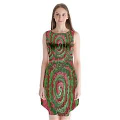 Red Green Swirl Twirl Colorful Sleeveless Chiffon Dress