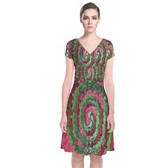 Red Green Swirl Twirl Colorful Short Sleeve Front Wrap Dress