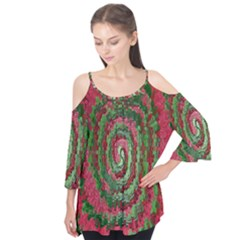 Red Green Swirl Twirl Colorful Flutter Tees