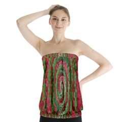 Red Green Swirl Twirl Colorful Strapless Top
