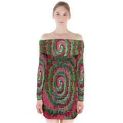 Red Green Swirl Twirl Colorful Long Sleeve Off Shoulder Dress