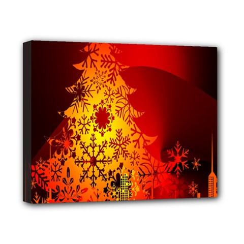 Red Silhouette Star Canvas 10  x 8