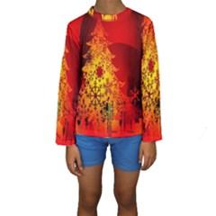 Red Silhouette Star Kids  Long Sleeve Swimwear