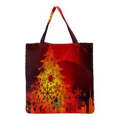 Red Silhouette Star Grocery Tote Bag