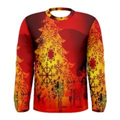 Red Silhouette Star Men s Long Sleeve Tee