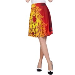 Red Silhouette Star A-Line Skirt