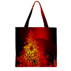 Red Silhouette Star Zipper Grocery Tote Bag