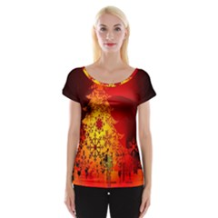 Red Silhouette Star Women s Cap Sleeve Top