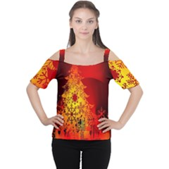 Red Silhouette Star Women s Cutout Shoulder Tee