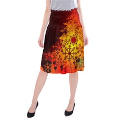 Red Silhouette Star Midi Beach Skirt