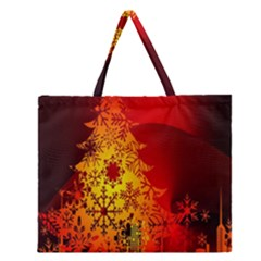 Red Silhouette Star Zipper Large Tote Bag