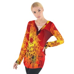 Red Silhouette Star Women s Tie Up Tee