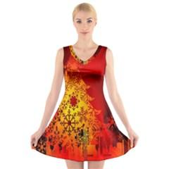 Red Silhouette Star V-Neck Sleeveless Skater Dress