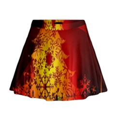 Red Silhouette Star Mini Flare Skirt
