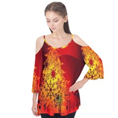 Red Silhouette Star Flutter Tees