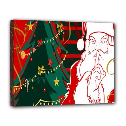 Santa Clause Xmas Canvas 14  x 11